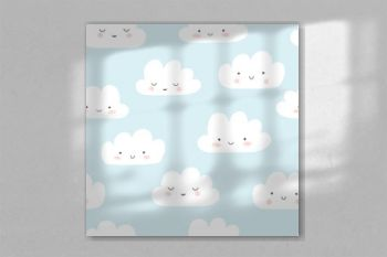Smiling clouds vector pattern. Cute sky seamless background. Hand drawn illustration for babies, kids.