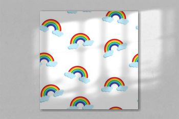 Vector seamless pattern with rainbow and clouds on white background. Cute endless background with cartoon flat weather icons for print, cover, Kid design.
