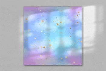 Seamless bright blue and lilac sky pattern with gold constellations, stars and watercolor clouds