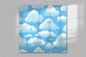 Blue sky with white clouds. Hand drawn seamless pattern. Vector illustration in cartoon style