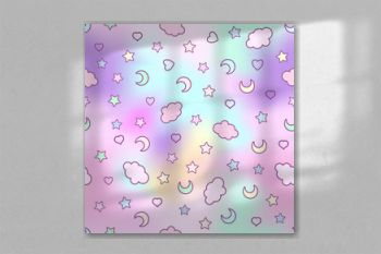 Seamless pattern with clouds, moon, stars, and in the doodle kaw