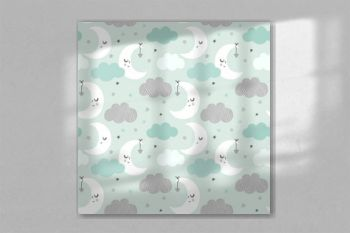 Night sky vector pattern. Cute smiling moon, stars, clouds seamless background. Baby print in soft, pastel colors, mint green.