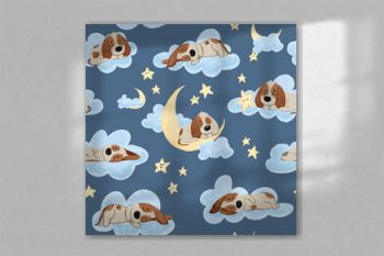 Good night seamless pattern with cute sleeping puppies, moon, stars and clouds. Sweet dreams background. Childish lovely doodle hand drawn vector illustration.