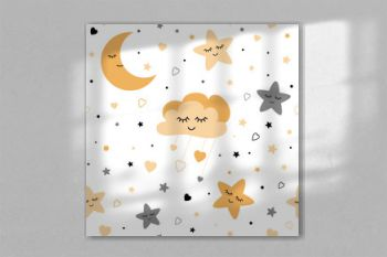 Seamless cute children pattern with baby golden stars cloud moon Kids texture background Vector illustration