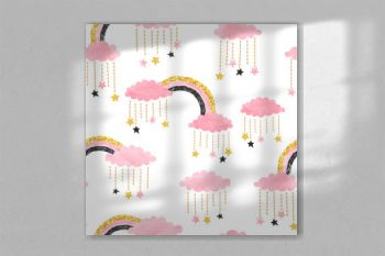 Cute pink seamless pattern with rainbows, clouds and stars. Vector watercolor illustration for kids.