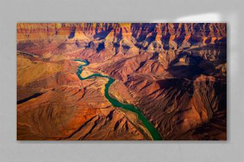 Panoramic landscape view of curved colorado river in Grand canyon, USA
