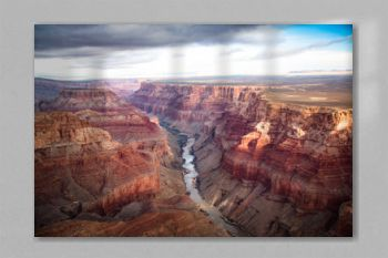 view over the south and north rim part in grand canyon from the helicopter