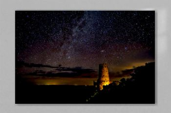 Silhouette of the historic Watch Tower on the Grand Canyon under the Milky Way night. Managed by the National Park Service. No property release needed.