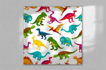 Cartoon dinosaurs children seamless pattern
