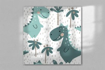 Dinosaur baby boy seamless pattern. Sweet dino with palm. Scandinavian cute print.