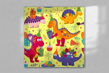 seamless pattern with cute dinosaurs Happy Birthday on yellow background - vector illustration, eps