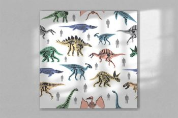 Dnosaurs seletons silhouettes bone animal and jurassic monster predator dino vector flat seamless pattern background