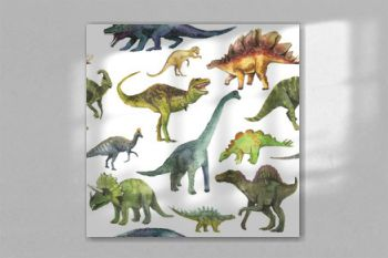 Hand drawn seamless pattern with dinosaurus. Dino pattern realistic. Children boy wallpaper background.