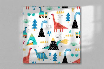 Childish seamless pattern with mountain, volcano, dinosaurs and tropical plants. Vector texture in childish style great for fabric and textile, wallpapers, backgrounds. Scandinavian style.