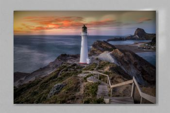 Long Exposure of Castlepoint Lighthouse in New Zealand at sunrise