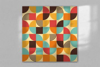 Abstract geometric pattern - seamless retro bauhaus style print design - simple repeating lines and shapes mosaic background