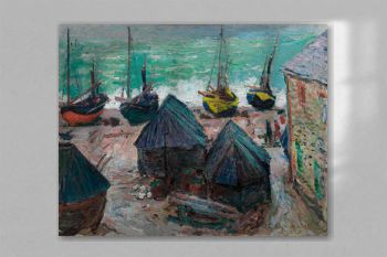 Boats on the Beach at Étretat (1885) by Claude Monet
