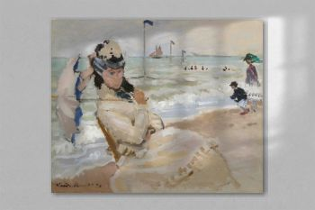 Camille on the Beach in Trouville (1870) by Claude Monet