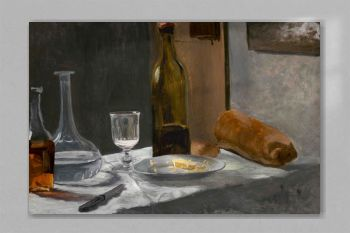 Still Life with Bottle, Carafe, Bread, and Wine 1862–1863 by Claude Monet