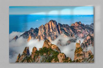 Clouds above the colorful peaks of Huangshan National park.