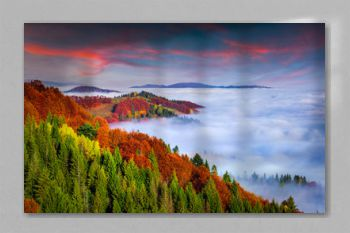 Colorful autumn morning in the Carpathian mountains. Sokilsky ri
