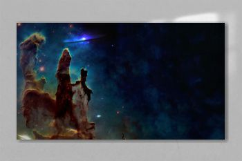 Somewhere in space near Pillars of creation. Science fiction. Elements of this image were furnished by NASA.