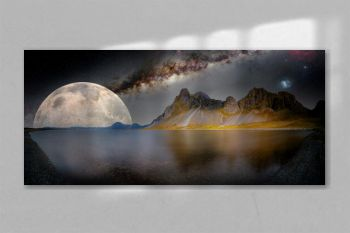 fantastic night landscape with lake, mountains and moon. Elements of this image furnished by NASA.