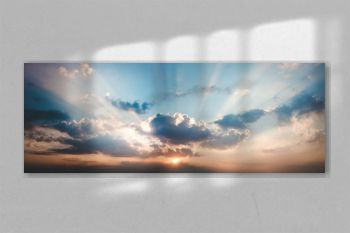 panorama landscape of sky with clouds in the twilight
