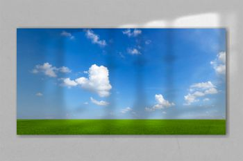 sky with clouds and green field background panorama