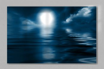 Dark sea background at night. Reflection of the night sky on the water. 3d illustration