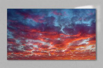 Background of the blood red evening sky and amazing clouds.