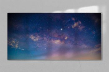 Panorama blue night sky milky way and star on dark background.Universe filled, nebula and galaxy with noise and grain.Photo by long exposure and select white balance.Dark night sky.