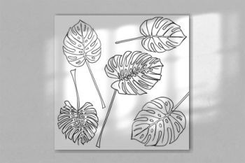 Silhouette tropical monstera leaves. Black isolated on white background