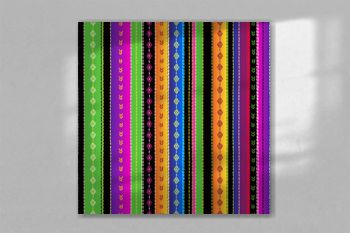 Seamless ethnic mexican fabric pattern with colorful stripes. Repeat straight blue, red, green, yellow, black, violet stripes texture background, vector.