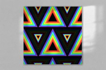 Color rainbow triangles seamless pattern.