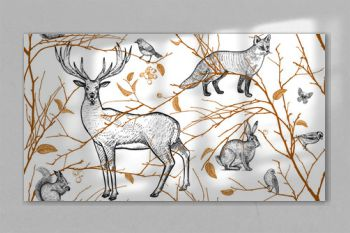 Seamless pattern with animals, birds and tree branches.