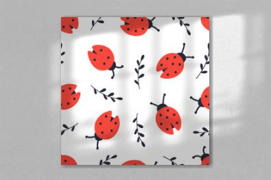 Ladybug and twigs seamless pattern. Hand drawing doodle print isolated on white background