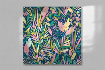 Colorful seamless pattern with tropical exotic leaves