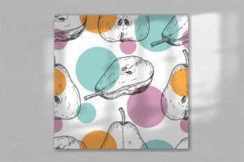 Seamles pattern vector hand made sketch illustration of engraving pear with multi colored circles on white background