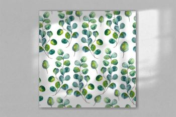 Seamles pattern with eucalyptus leaves. Green foliage and botanical watercolor pattern.