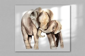 watercolor animals - african elephant with a kid