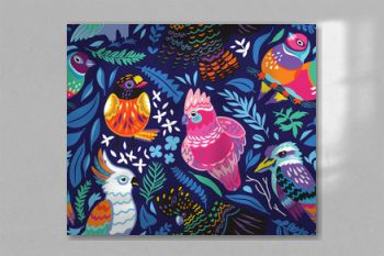 Seamless pattern with exotic australian birds and tropical leaves on navy blue background