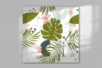 Abstrac summer seamles background with tropical leaves and flowers in bright colors. Wall art, greeting card, social media post, packaging paper design. Vector illustration.
