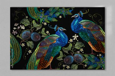 Embroidery peacocks tropical birds and plum branch seamless pattern. Classical fashionable embroidery beautiful peacocks. Fashionable template for design of clothes