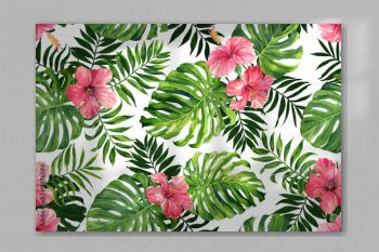 Seamless pattern with monstera and palm leaves on white background.Tropical camouflage print.