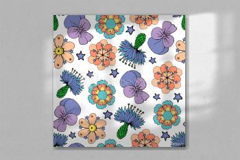 seamles pattern with colorful flowers on a white background