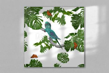 two parrots on a branch with tropical leaves and butterflies. seamles pattern on white background