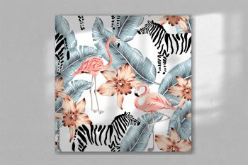 Tropical pink flamingo, zebra, orchid flowers, banana palm leaves, white background. Vector seamless pattern. Jungle illustration. Exotic plants, bird, animal. Summer floral design. Paradise nature