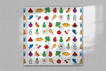 food fruit vegetable seamless pattern background template fun icon vector illustration