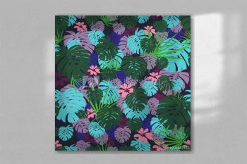 Tropical plants and flowers seamless pattern with leaves on dark background